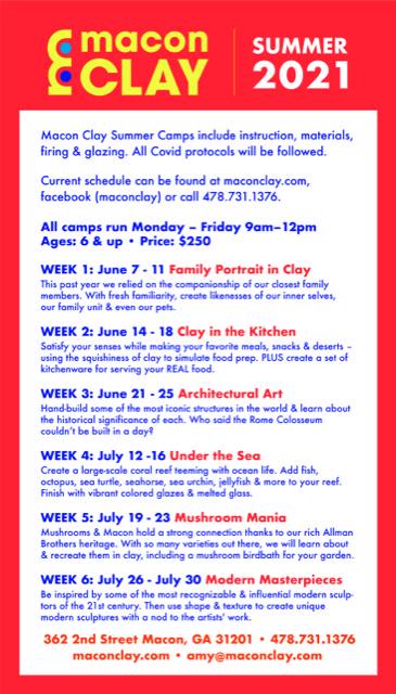 Macon Clay Summer Schedule 2021